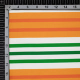 Tricolor Stripes Pattern Digital Print American Crepe Fabric