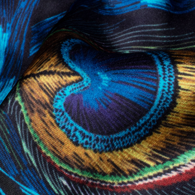 Navy Blue And Mustard Yellow Peacock Feather Digital Print Modal Satin Fabric