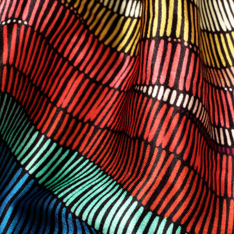 Multi-Color Abstract Pattern Digital Printed Japan Satin Fabric
