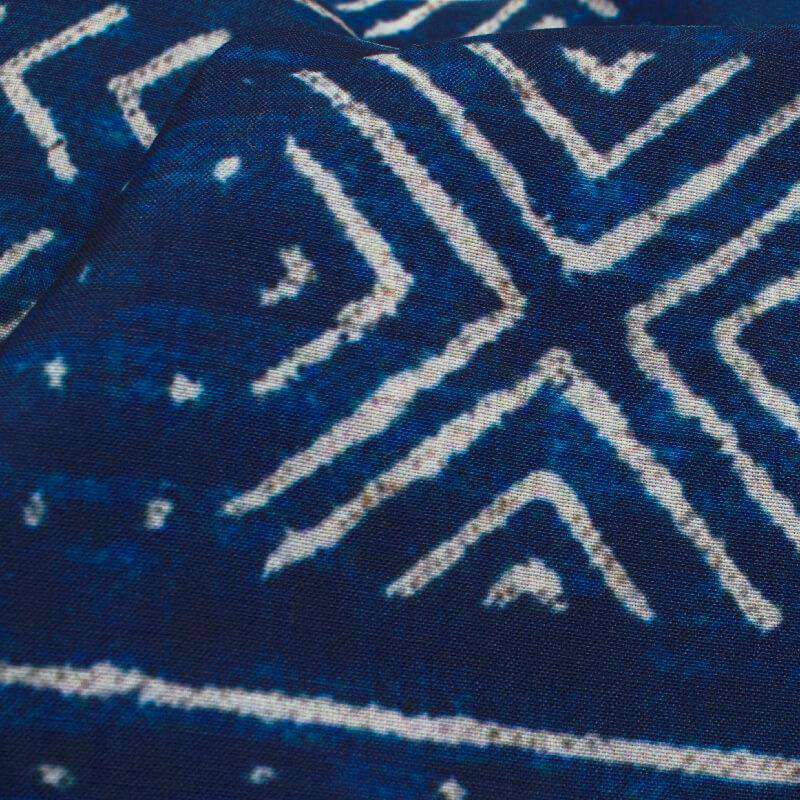 Navy Blue And White Geometric Pattern Digital Printed Muslin Fabric