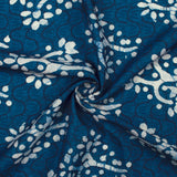 Navy Blue And White Floral Pattern Digital Printed Muslin Fabric