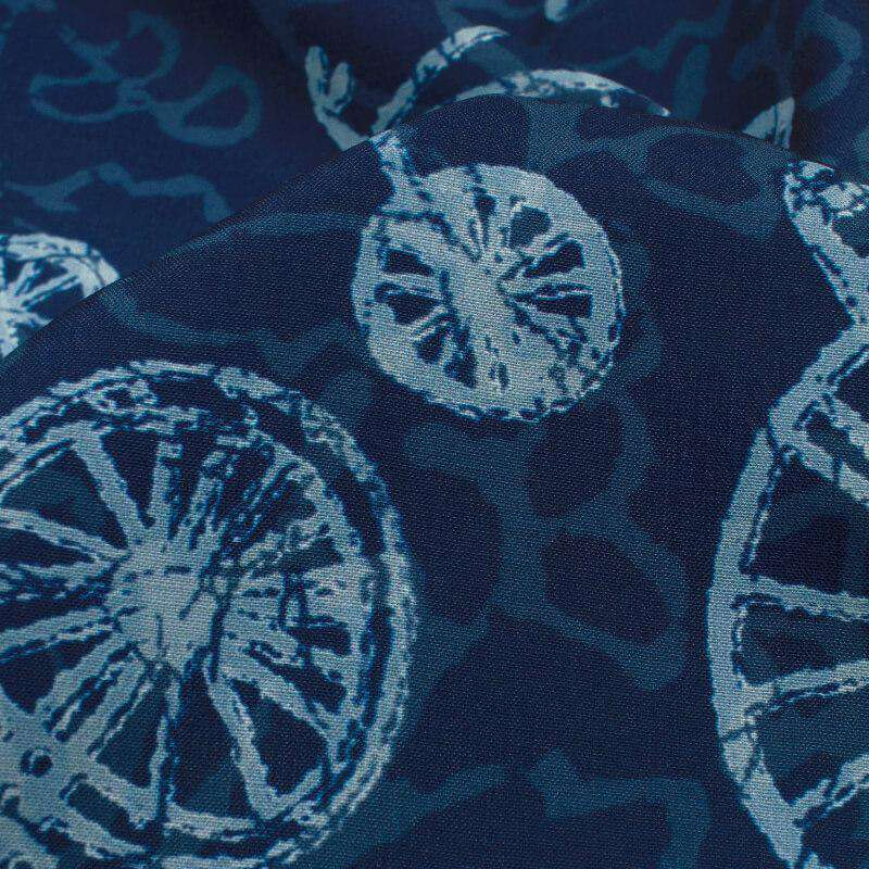 Navy Blue And White Quirky Pattern Digital Printed Muslin Fabric