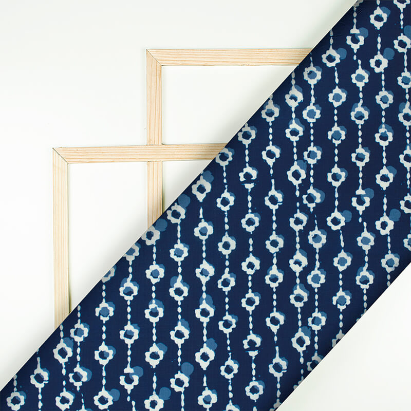 Navy Blue And White Booti Pattern Digital Printed Muslin Fabric
