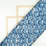 White And Navy Blue Trellis Pattern Digital Printed Muslin Fabric