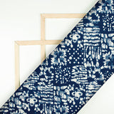 Navy Blue And White Abstract Pattern Digital Printed Muslin Fabric