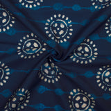 Navy Blue And White Object Pattern Digital Printed Muslin Fabric