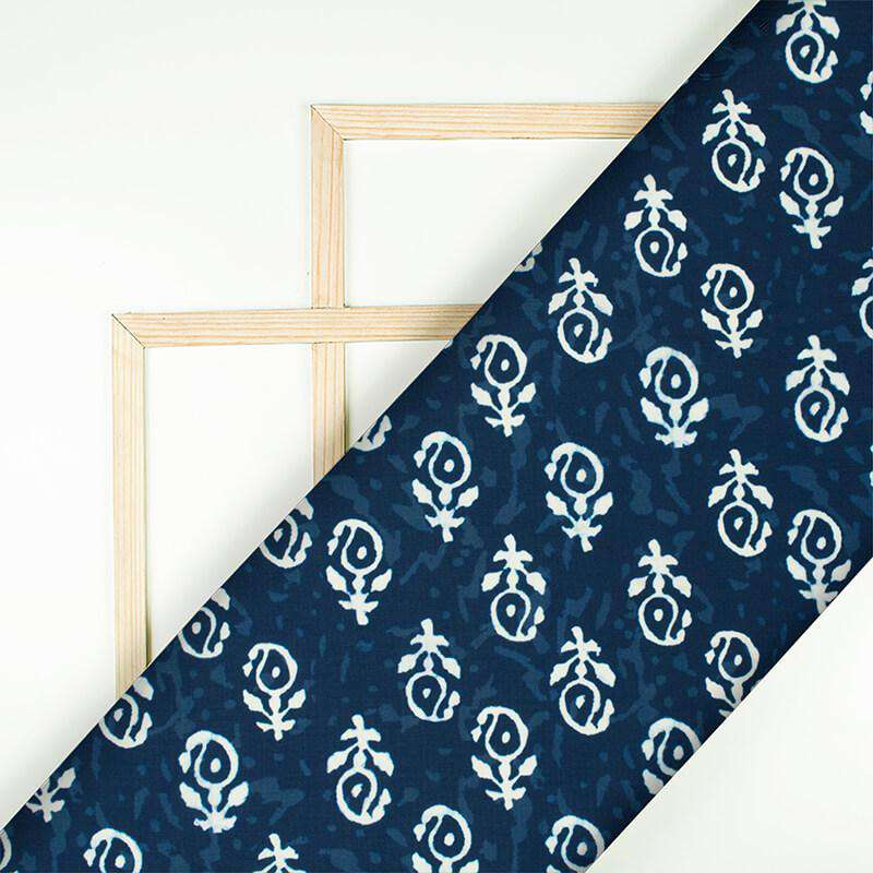 Navy Blue And White Paisely Pattern Digital Printed Muslin Fabric