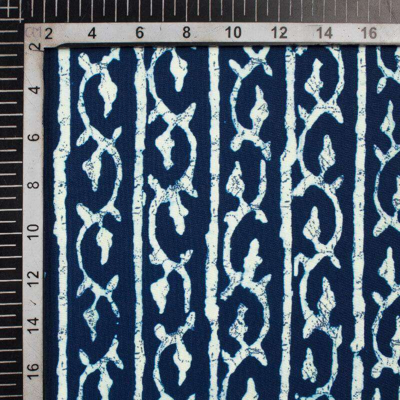 Navy Blue And White Trellis Pattern Digital Printed Muslin Fabric