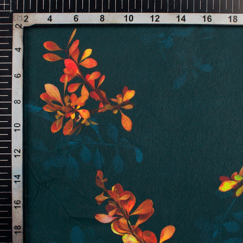 Prussian Blue And Marmalade Orange Floral Pattern Digital Print Georgette Fabric