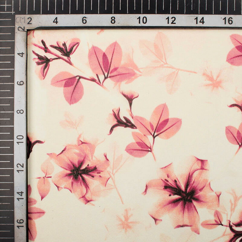 Alabaster Cream And Peach Floral Pattern Digital Print Georgette Fabric
