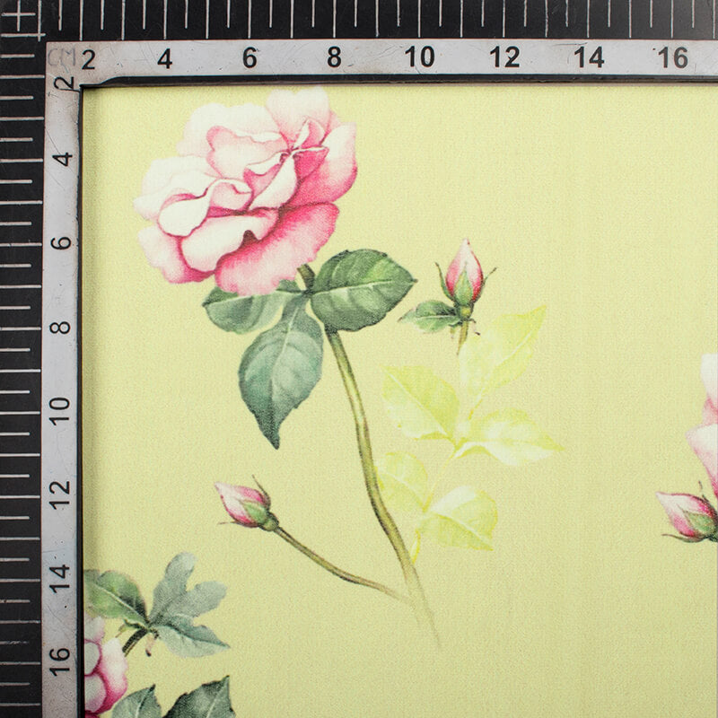Cream And Rose Pink Floral Pattern Digital Print Georgette Fabric