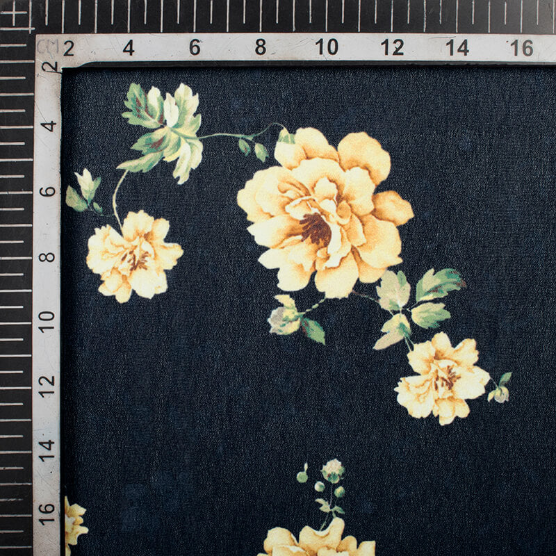 Navy Blue And Ivory Cream Floral Pattern Digital Print Georgette Fabric
