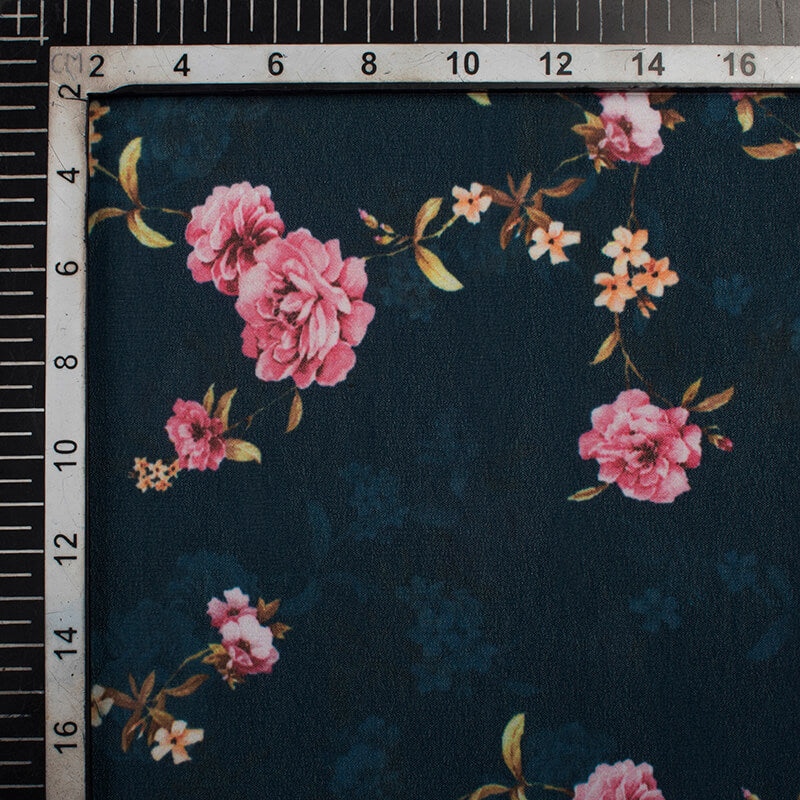 Prussian Blue And Pink Floral Pattern Digital Print Georgette Fabric