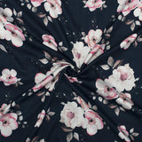 Black And Pink Floral Pattern Digital Print Glazed Cotton Fabric