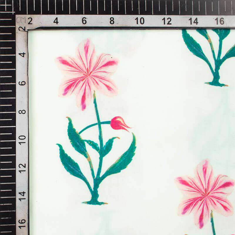 White And Pink Floral Pattern Digital Print Rayon Fabric