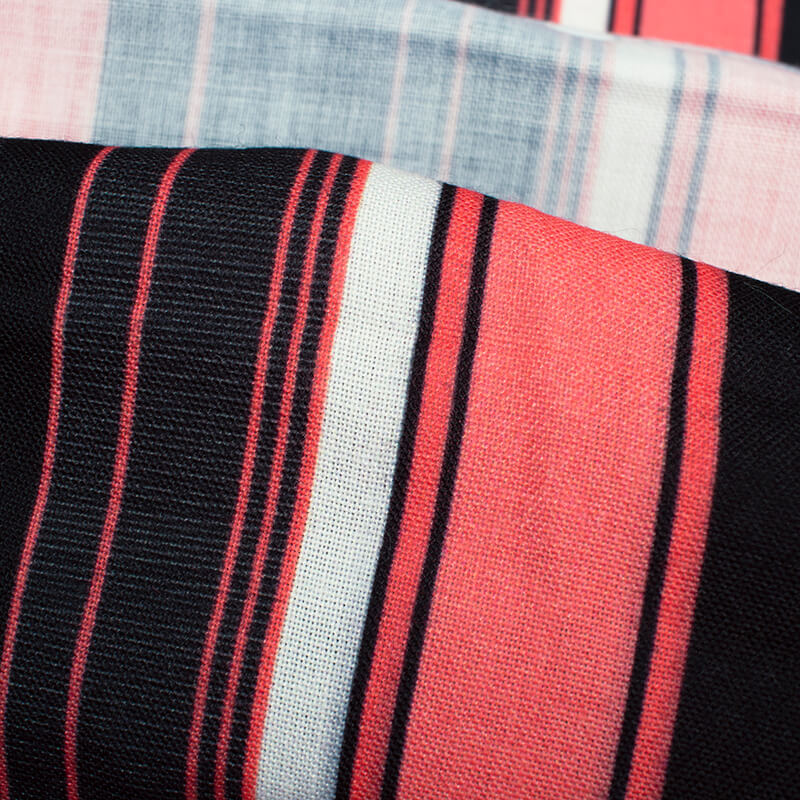 Black And Coral Peach Stripes Pattern Digital Print Rayon Fabric