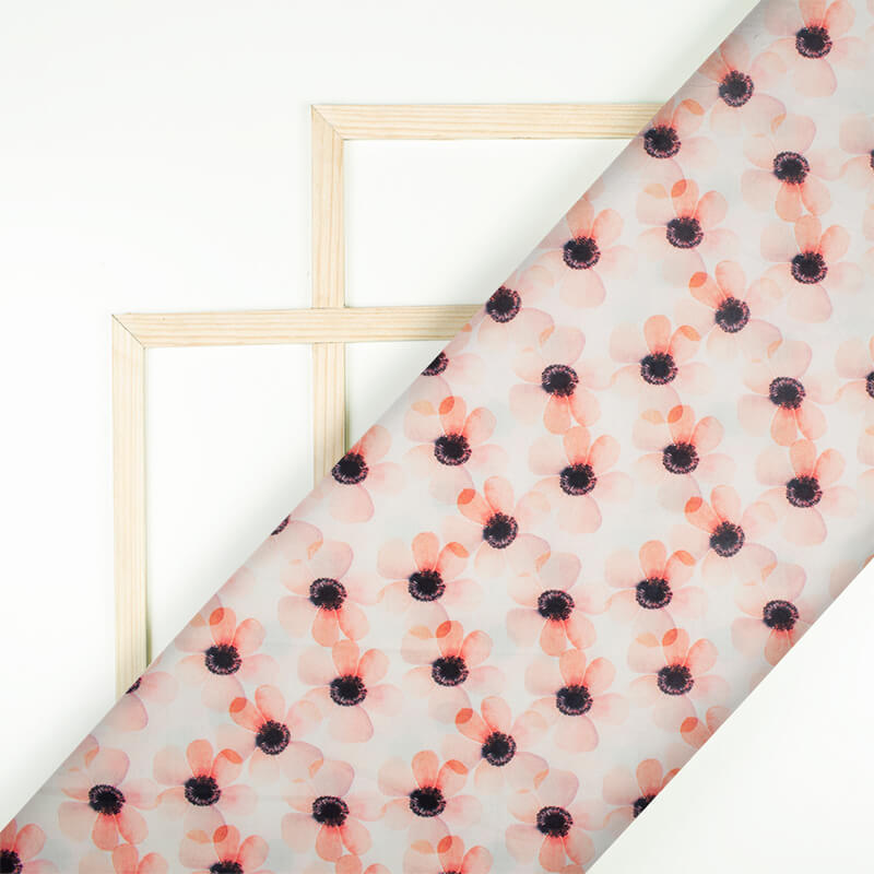 Cream And Peach Floral Pattern Digital Print Rayon Fabric