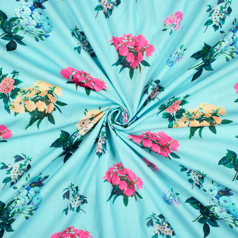 Celeste Blue And Yellow Floral Pattern Digital Print Rayon Fabric
