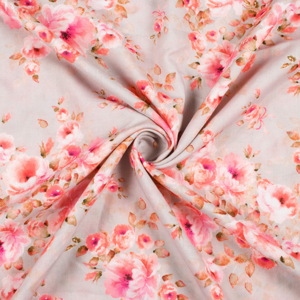 Sea Salt Grey And Pink Floral Pattern Digital Print Rayon Fabric