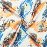White And Orange Peacock Feather Pattern Digital Print Japan Satin Fabric - Fabcurate