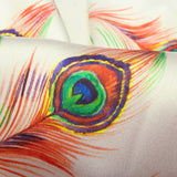 Cream And Orange Peacock Feather Pattern Digital Print Japan Satin Fabric
