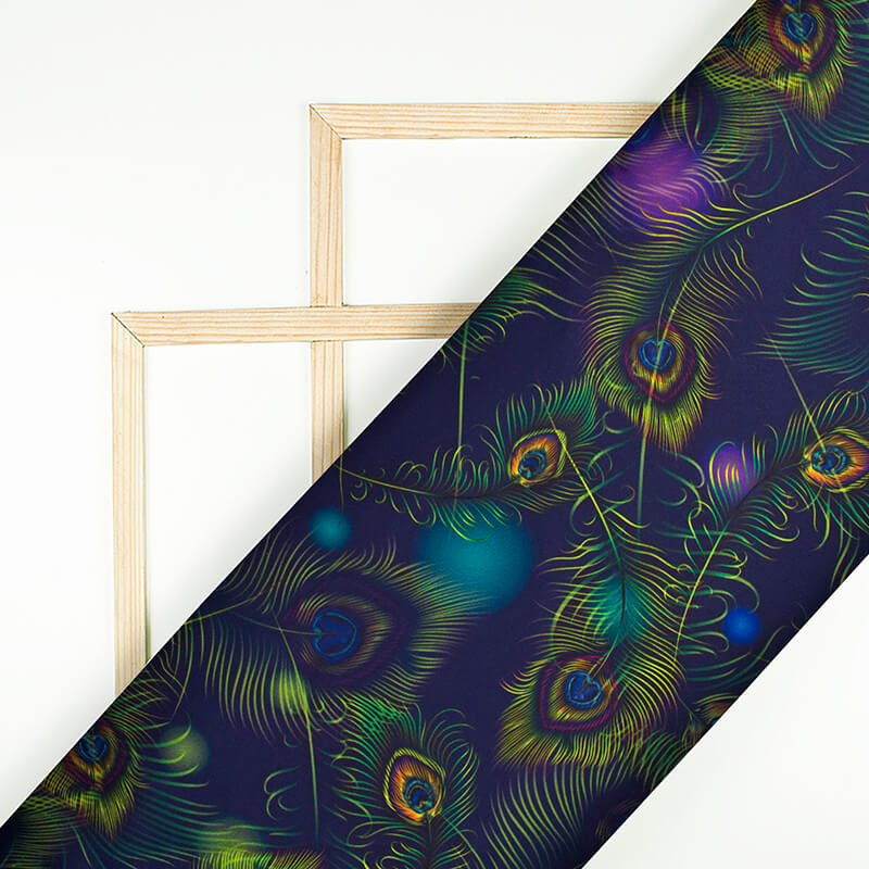 Navy Blue And Liril Green Peacock Feather Pattern Digital Print Japan Satin Fabric