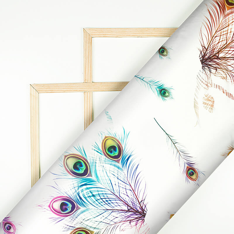 White And Multi-Color Peacock Feather Pattern Digital Print Japan Satin Fabric