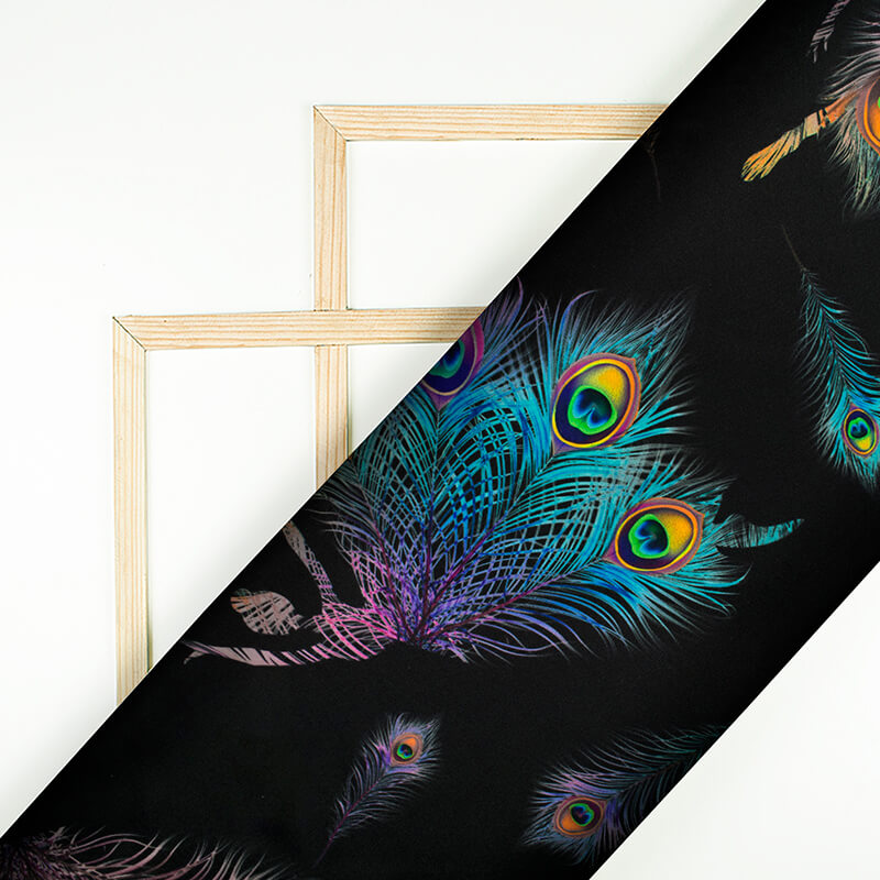 Black And Multi-Color Peacock Feather Pattern Digital Print Japan Satin Fabric