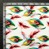 White And Red Peacock Feather Pattern Digital Print Japan Satin Fabric