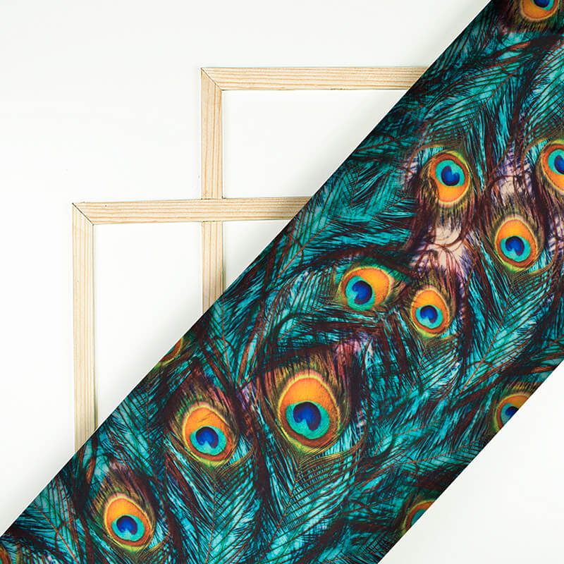 Teal Green And Fire Yellow Peacock Feather Pattern Digital Print Japan Satin Fabric