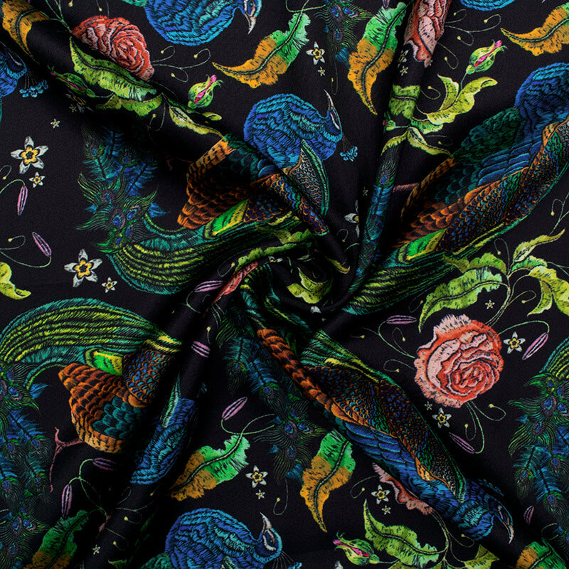 Black And Green Peacock Pattern Digital Print Japan Satin Fabric