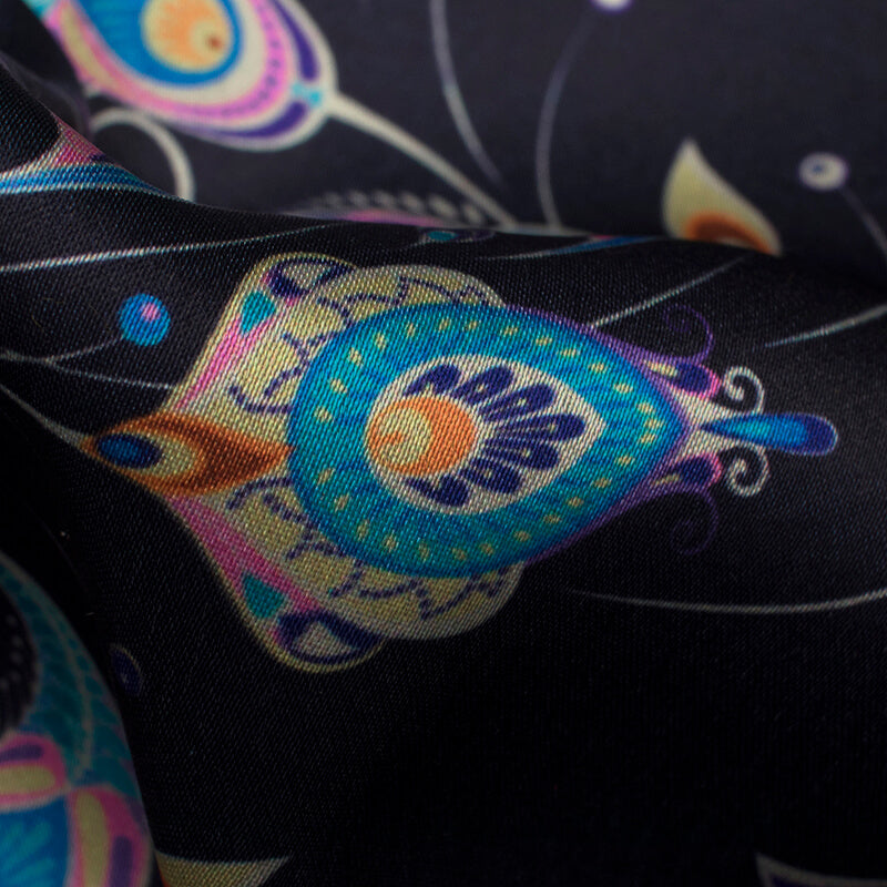 Black And Blue Peacock Feather Pattern Digital Print Japan Satin Fabric