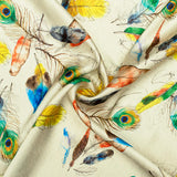 Cream And Multi-Color Peacock Feather Pattern Digital Print Japan Satin Fabric