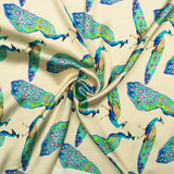 Beige And Sky Blue Peacock Pattern Digital Print Japan Satin Fabric - Fabcurate