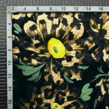 Black And Lime Yellow Animal Pattern Digital Print Velvet Fabric (Width 54 inches) - Fabcurate
