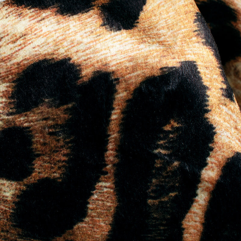 Black And Rust Orange Animal Pattern Digital Print Velvet Fabric (Width 54 inches) - Fabcurate