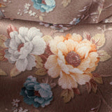 Light Coffee Brown And Light Orange Floral Pattern Digital Print Japan Satin Fabric