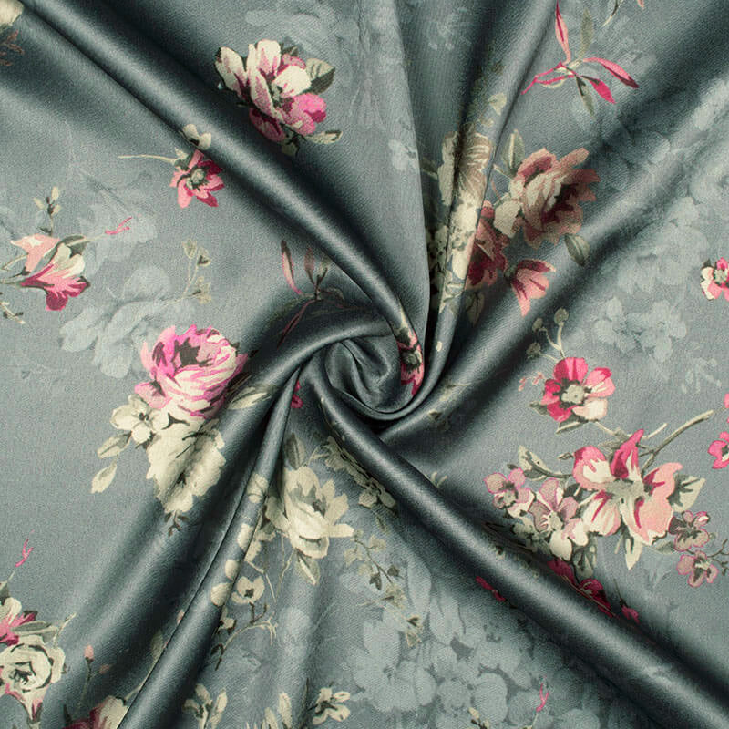 Lava Grey And Cream Floral Pattern Digital Print Japan Satin Fabric