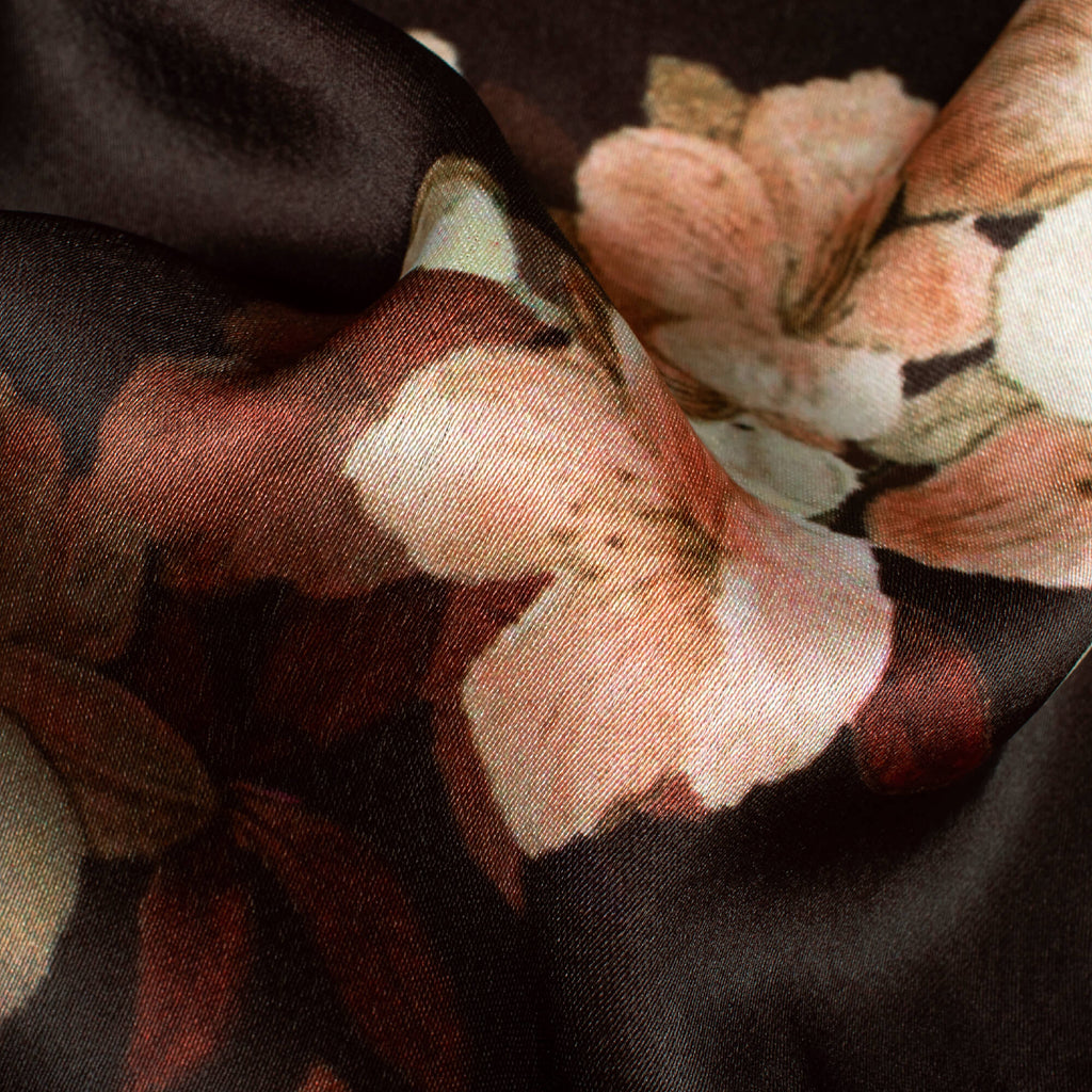 Dark Brown And Peach Floral Pattern Digital Print Japan Satin Fabric - Fabcurate