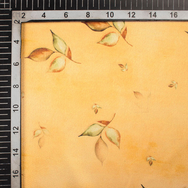 Melow Yellow And Brown Floral Pattern Digital Print Japan Satin Fabric