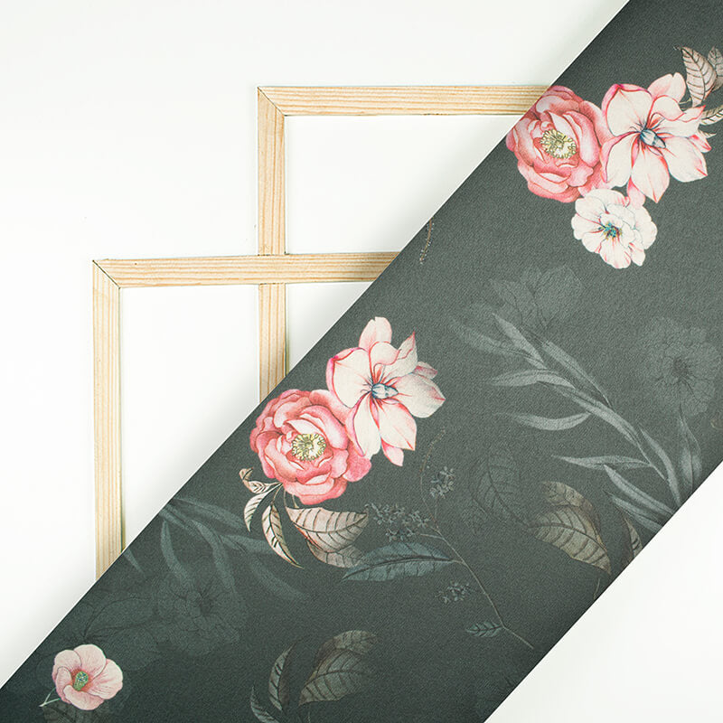 Iron Grey And Pink Floral Pattern Digital Print Japan Satin Fabric