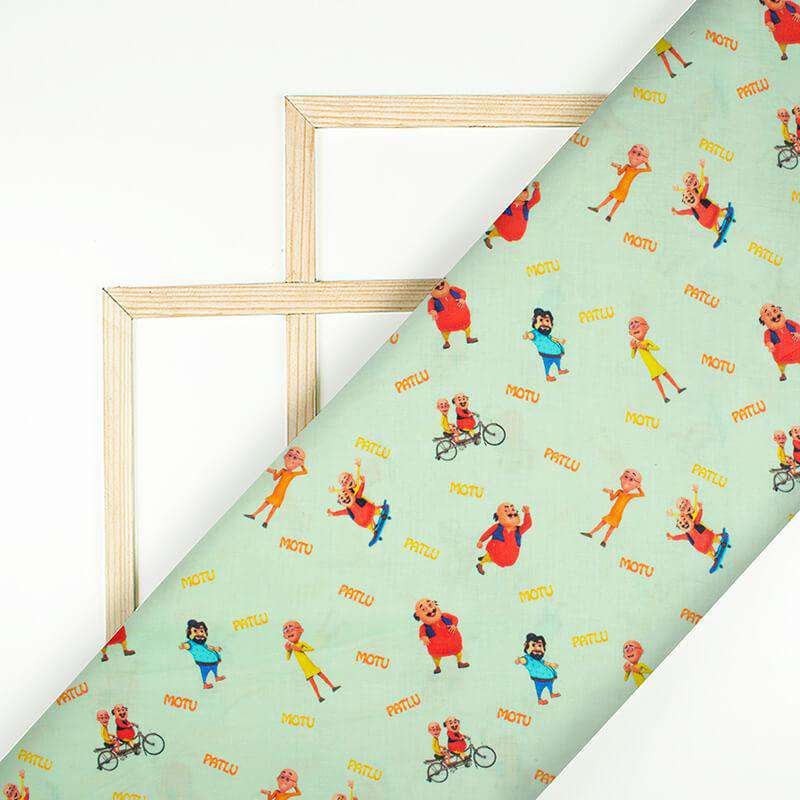 Light Pistachio Green And Red Kids Print Digital Print Cotton Cambric Fabric