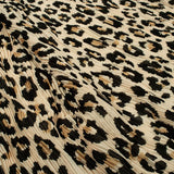 Beige and Black Leopard Animal Pattern Digital Print Georgette Satin Pleated Fabric