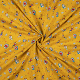 Marigold Yellow And Sky Blue Kids Pattern Digital Print Cotton Cambric Fabric - Fabcurate