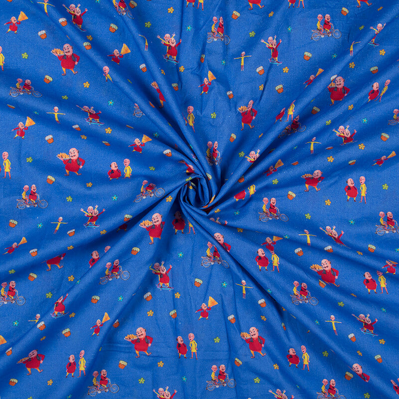 Sapphire Blue And Red Kids Print Digital Print Cotton Cambric Fabric
