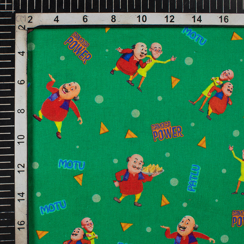 Green And Red Kids Print Digital Print Cotton Cambric Fabric