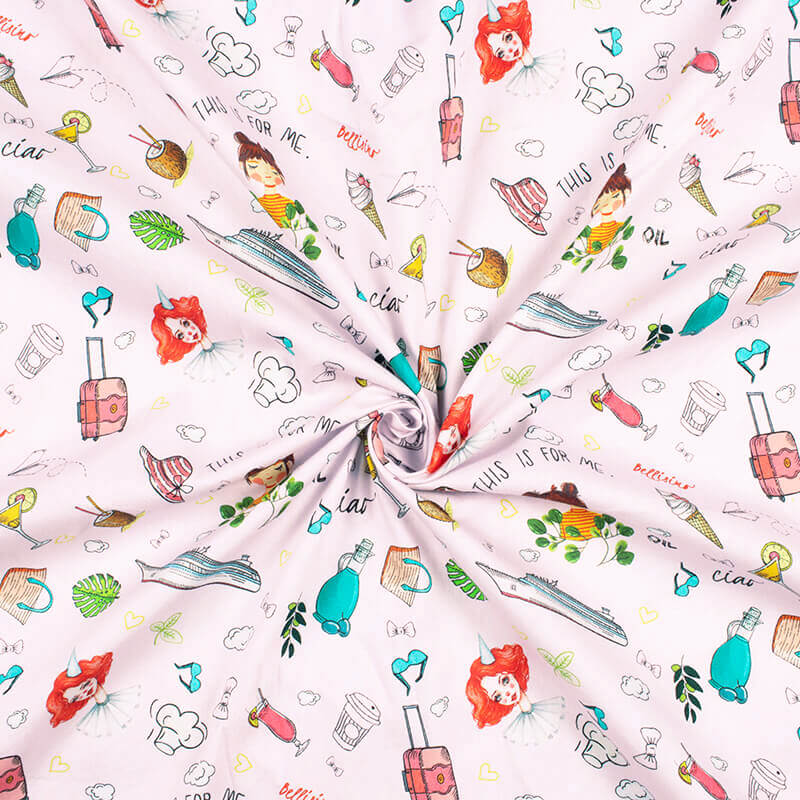 Baby Pink And Cherry Red Kids Pattern Digital Print Poplin Fabric