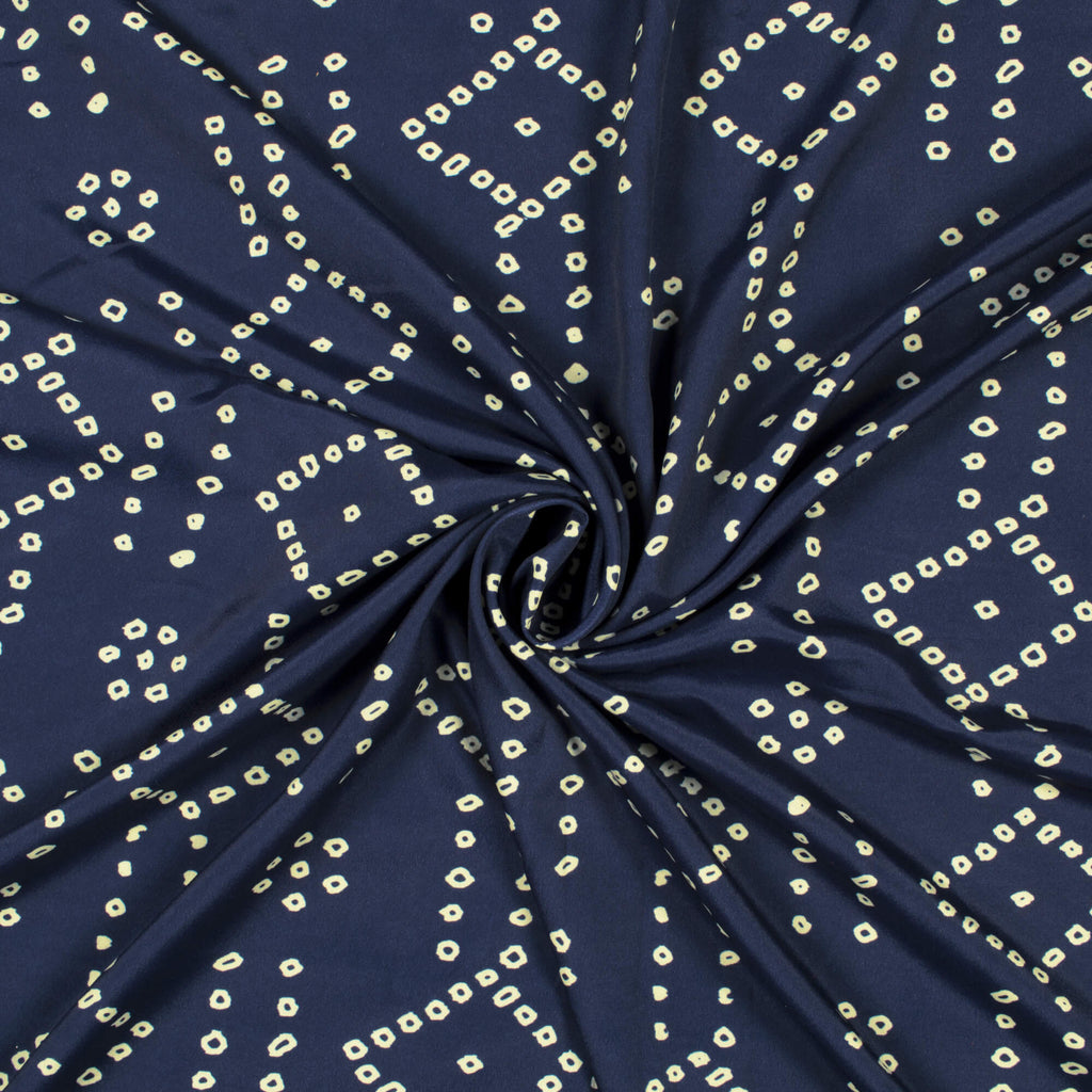 Navy Blue And Cream Bandhani Pattern Digital Print French Crepe Fabric - Fabcurate