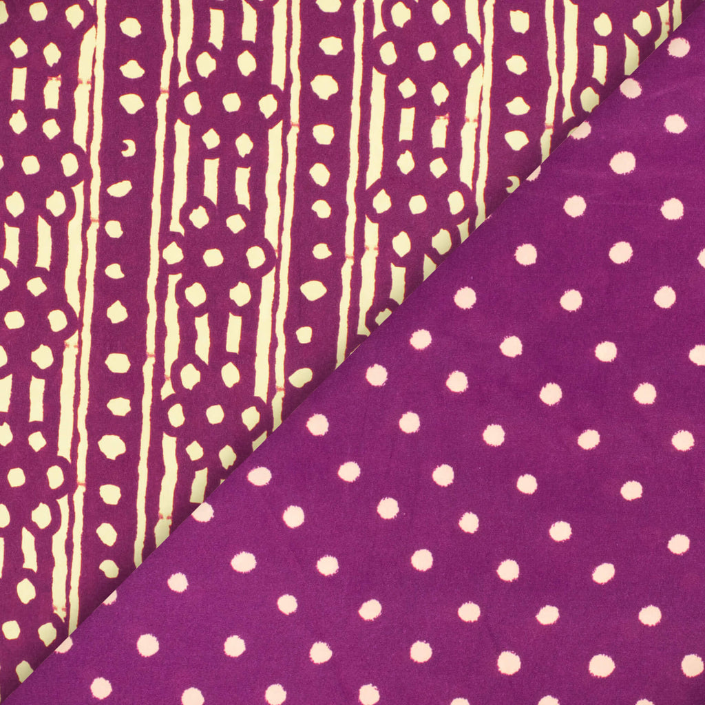 Purple And Cream Polka Dots Pattern Digital Print French Crepe Fabric - Fabcurate