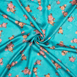 Ocean Blue And Purple Floral Pattern Digital Print Georgette Satin Fabric - Fabcurate